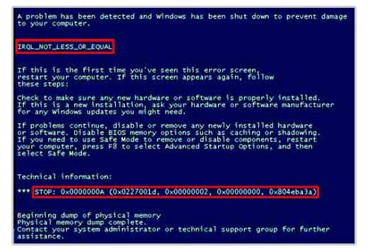 Bluescreen stopt Windows Start