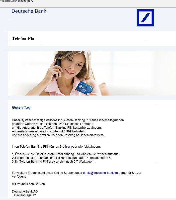 Phishing Mail der Deutschen Bank