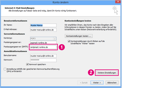 outlook pop3 passwort einstellen