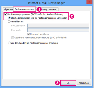 outlook 2010 smtp-authentifizierung einstellen