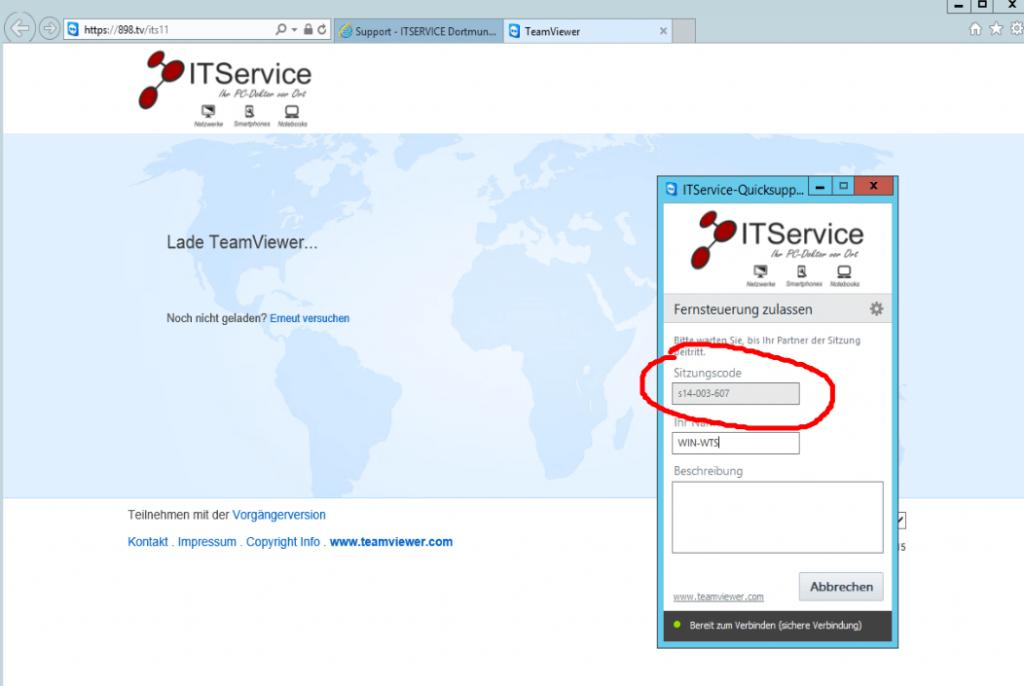 teilen Sie dem ITService Mitarbeiter jetzt die Sitzungs-ID mit