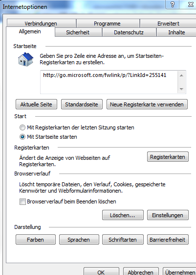Internet Optionen Internet Explorer