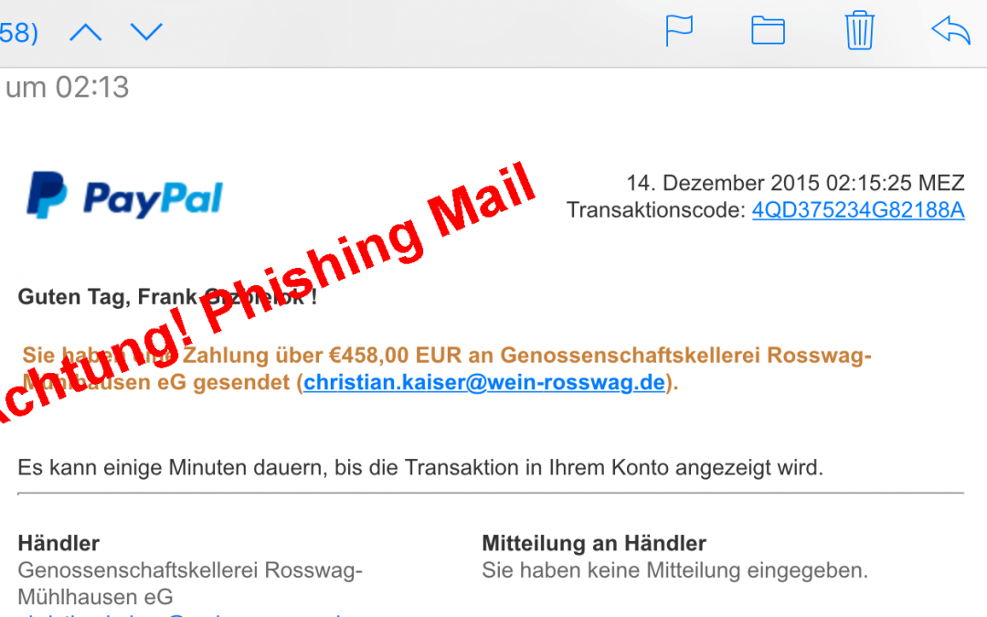 neue Paypal Phishing Mail zu Weihnachten